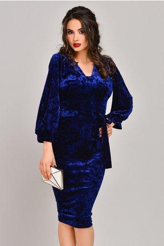 Rochie Moze Karen albastra din catifea cu reflexe