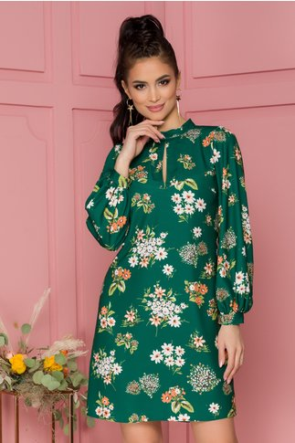 Rochie Moze lejera verde cu imprimeu floral