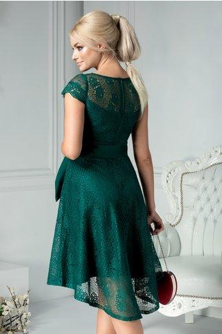Rochie Moze Lindy din dantela verde smarald clos