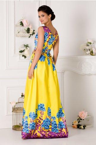 Rochie Moze lunga din tafta galbena cu imprimeu floral