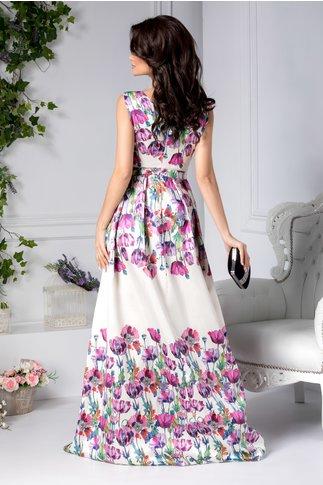 Rochie Moze lunga ivoar cu imprimeu floral mov