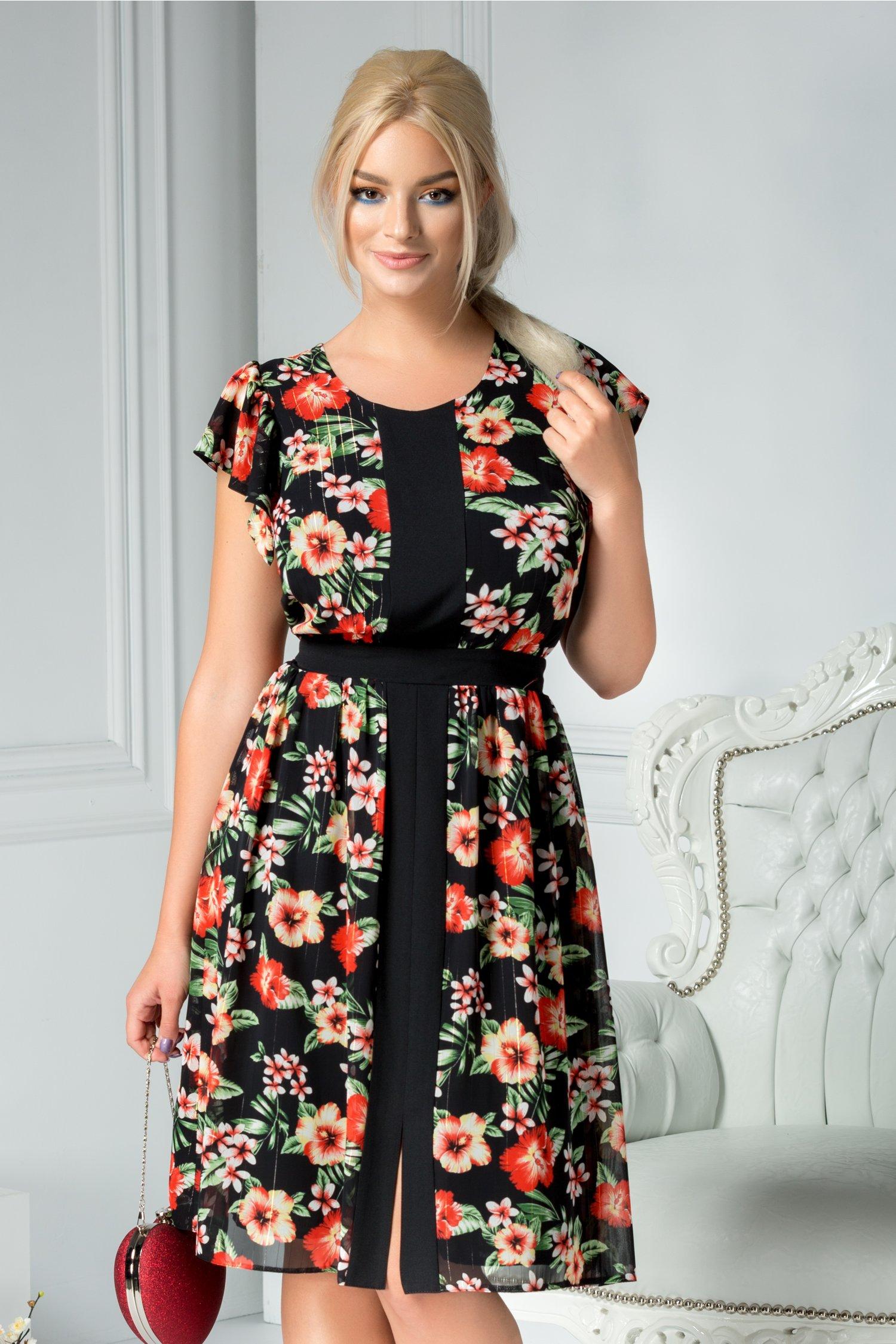 Rochie Moze Masha neagra cu print floral rosu