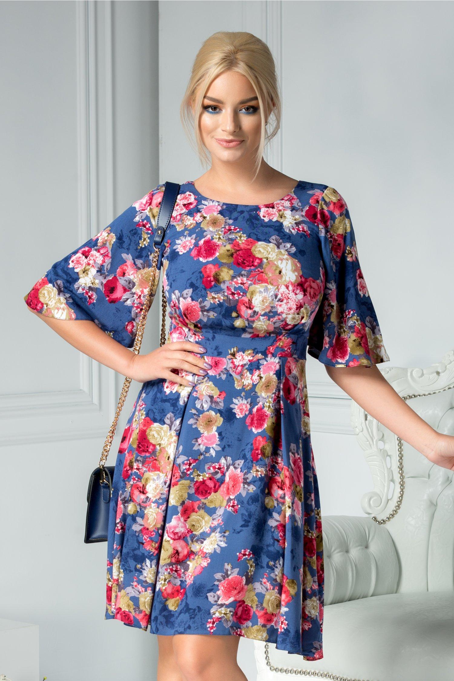 Rochie Moze Matilda albastru cu print floral rosu