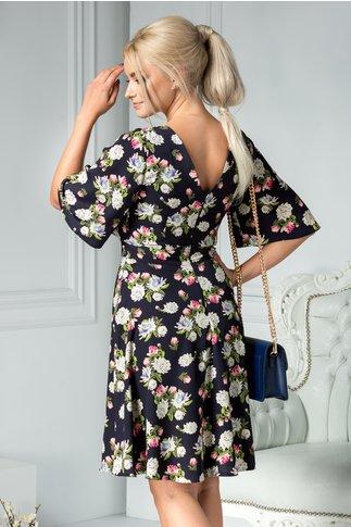 Rochie Moze Matilda bleumarin cu print floral crem