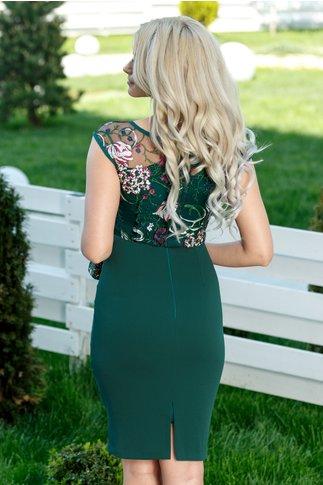 Rochie Moze Melanie verde cu broderie eleganta