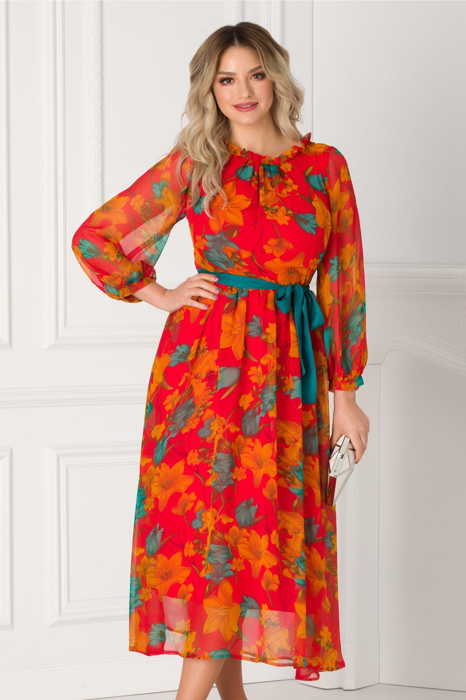 Rochie Moze midi rosie din voal cu imprimeu floral orange