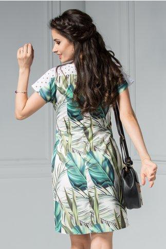 Rochie Moze Misty scurta cu imprimeu tropical verde