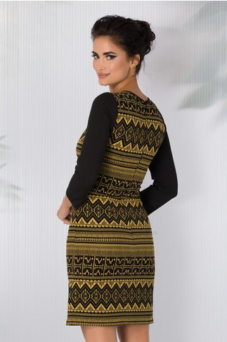 Rochie Moze neagra conica cu imprimeu geometric galben