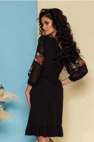 Rochie Moze neagra cu broderie florala delicata