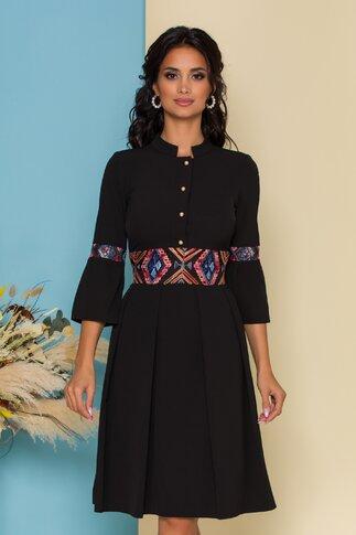 Rochie Moze neagra cu bustul tip camasa si insertii din broderie florala
