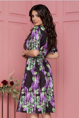 Rochie Moze neagra cu imprimeu floral mov