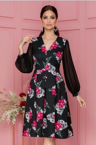 Rochie Moze neagra cu imprimeu floral rosu si maneci din voal
