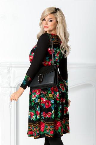 Rochie Moze neagra cu imprimeu floral traditional colorat