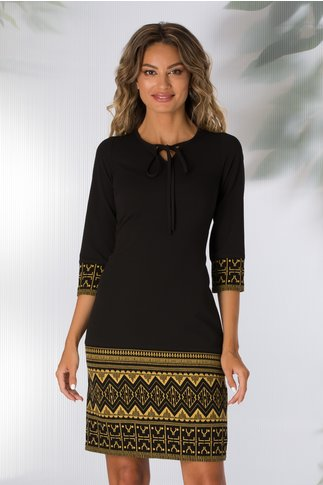 Rochie Moze neagra cu imprimeu geometric galben mustar la baza rochiei si a manecilor
