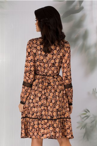 Rochie Moze neagra cu imprimeuri florale orange