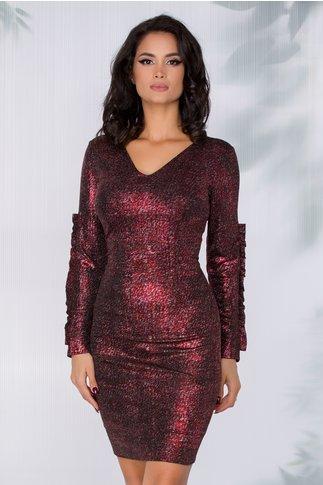 Rochie Moze neagra cu insertii rosii metalizate