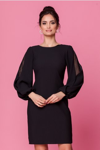 Rochie Moze neagra cu manecile bufante si decupate