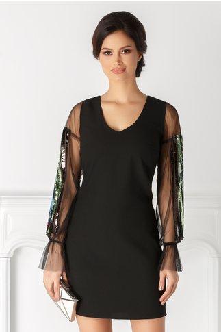Rochie Moze neagra cu paiete colorate la maneci