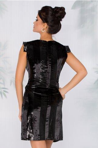 Rochie Moze neagra din catifea cu dungi lurex