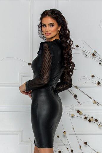 Rochie Moze neagra din piele ecologica cu maneci din plasa