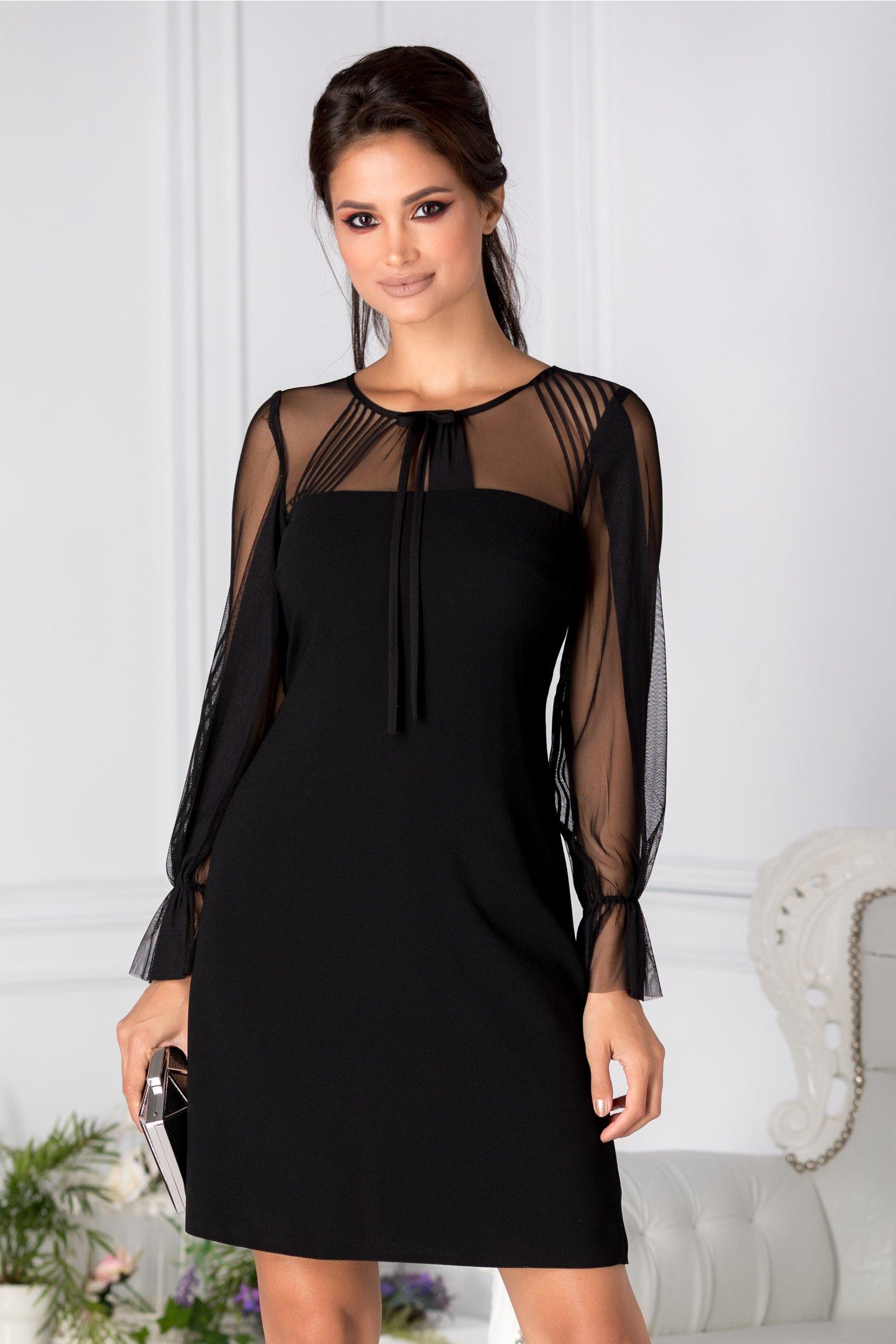 Rochie Moze neagra eleganta cu maneci din tull transparent