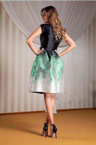 Rochie Moze neagra evazata din tafta cu lurex verde