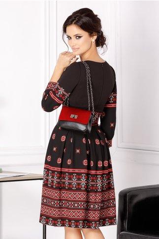 Rochie Moze neagra in cute cu imprimeu rosu etno