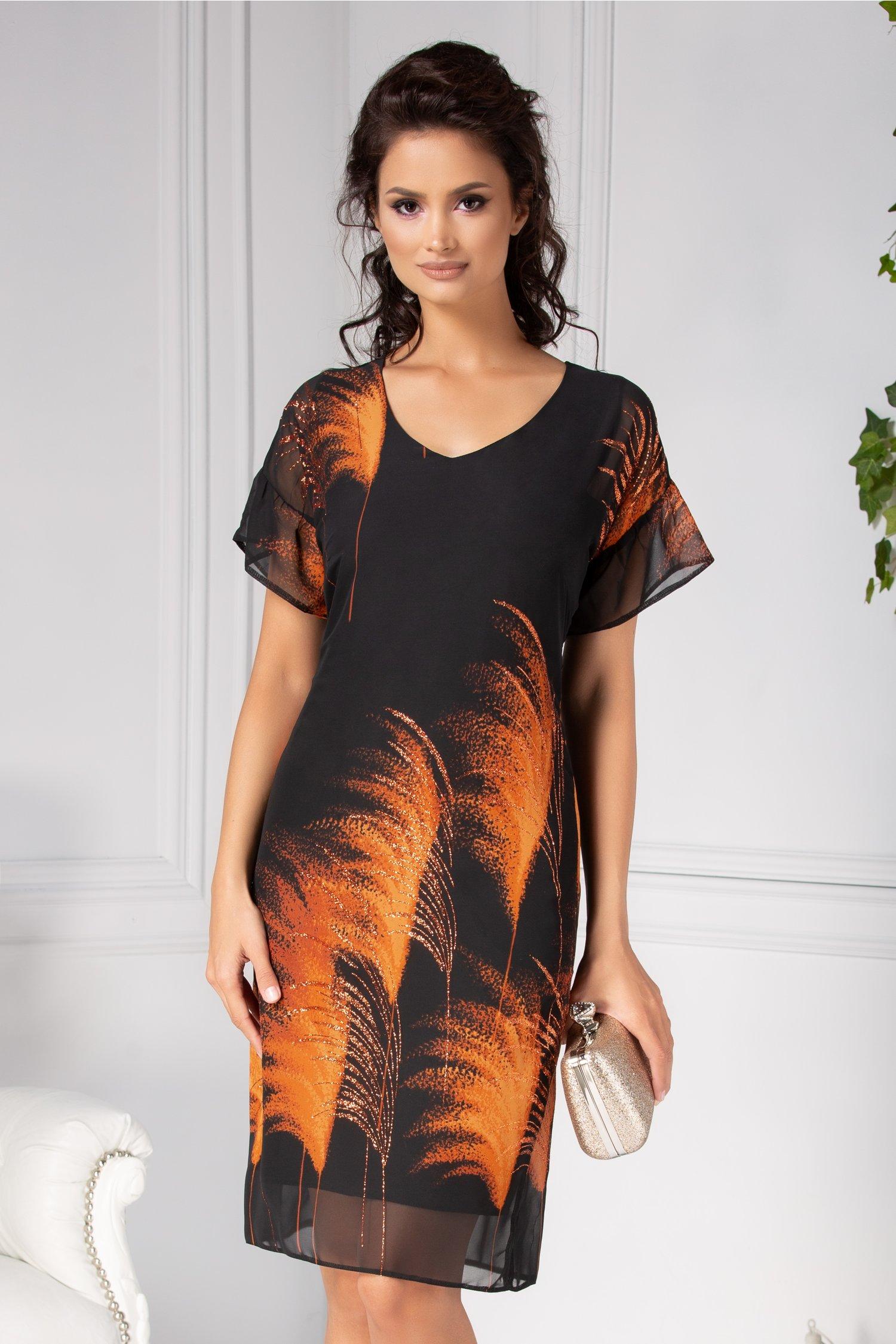 Rochie Moze neagra lejera cu imprimeu orange deosebit