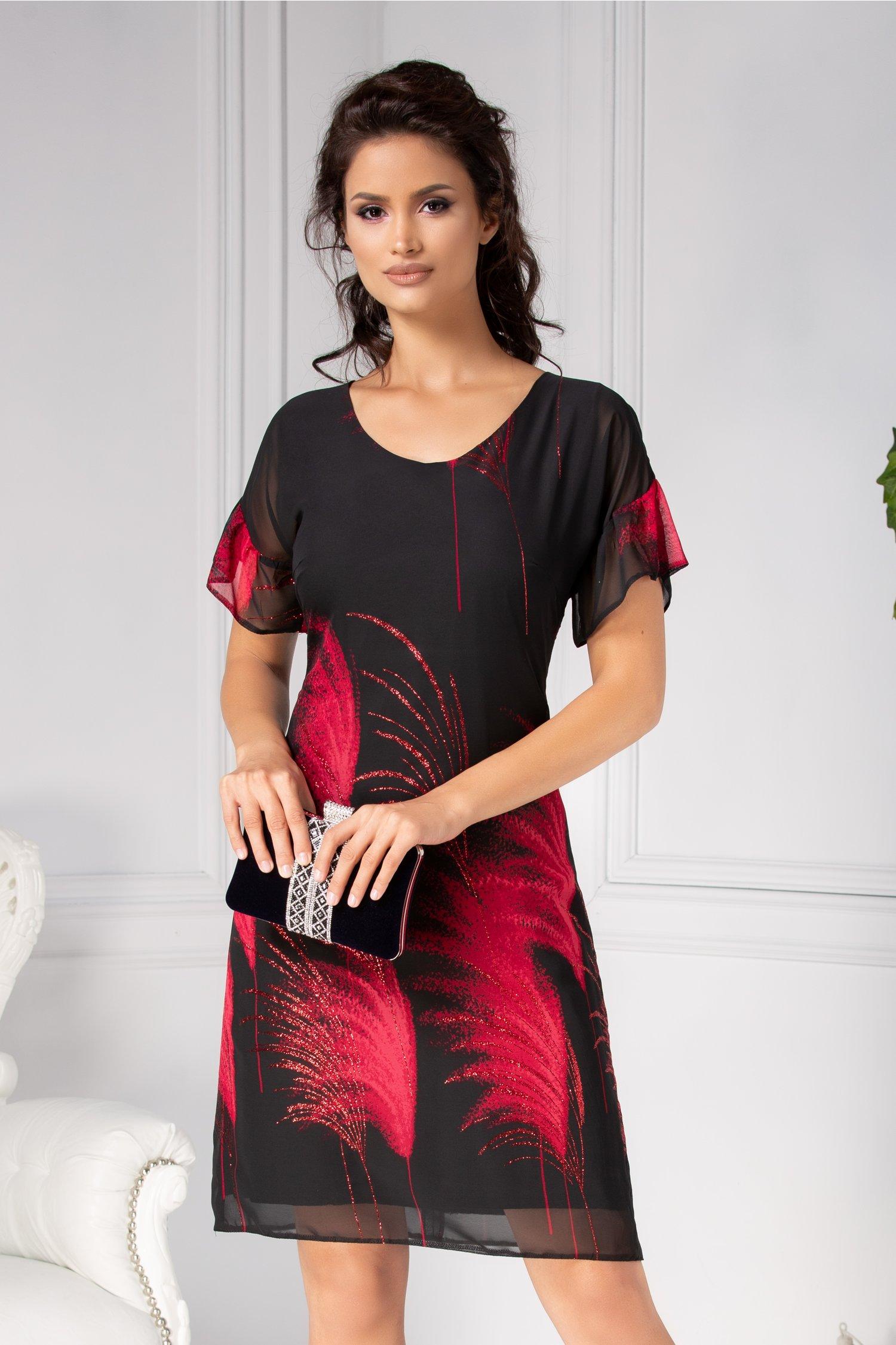 Rochie Moze neagra lejera cu imprimeu rosu deosebit
