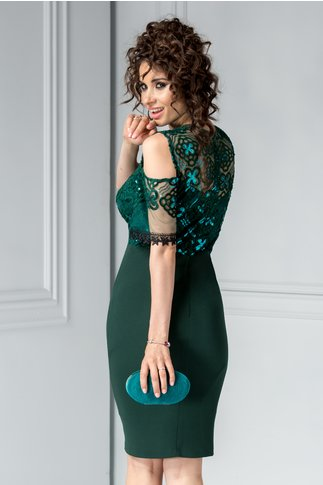 Rochie Moze Nera verde conica de ocazie cu paiete