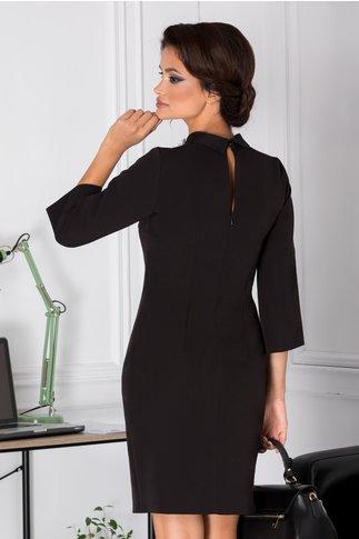 Rochie Moze office neagra cu aplicatii 3D la guler