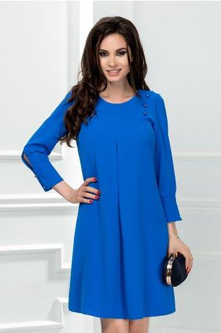 Rochie Moze Paula albastra cu pliu si nasturi perlati