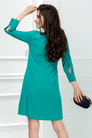 Rochie Moze Paula verde cu pliu si nasturi perlati