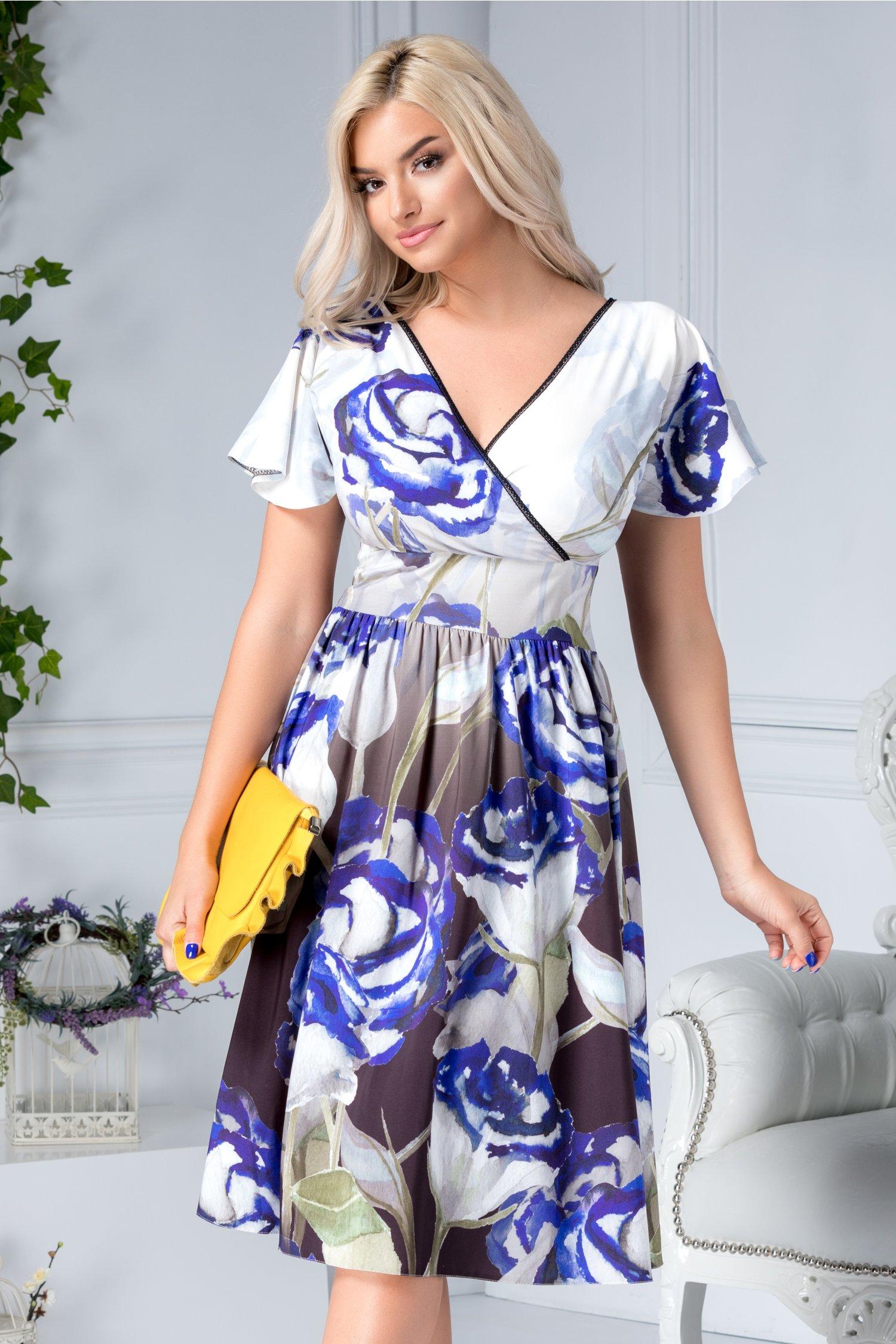 Rochie Moze petrecuta cu print floral albastru