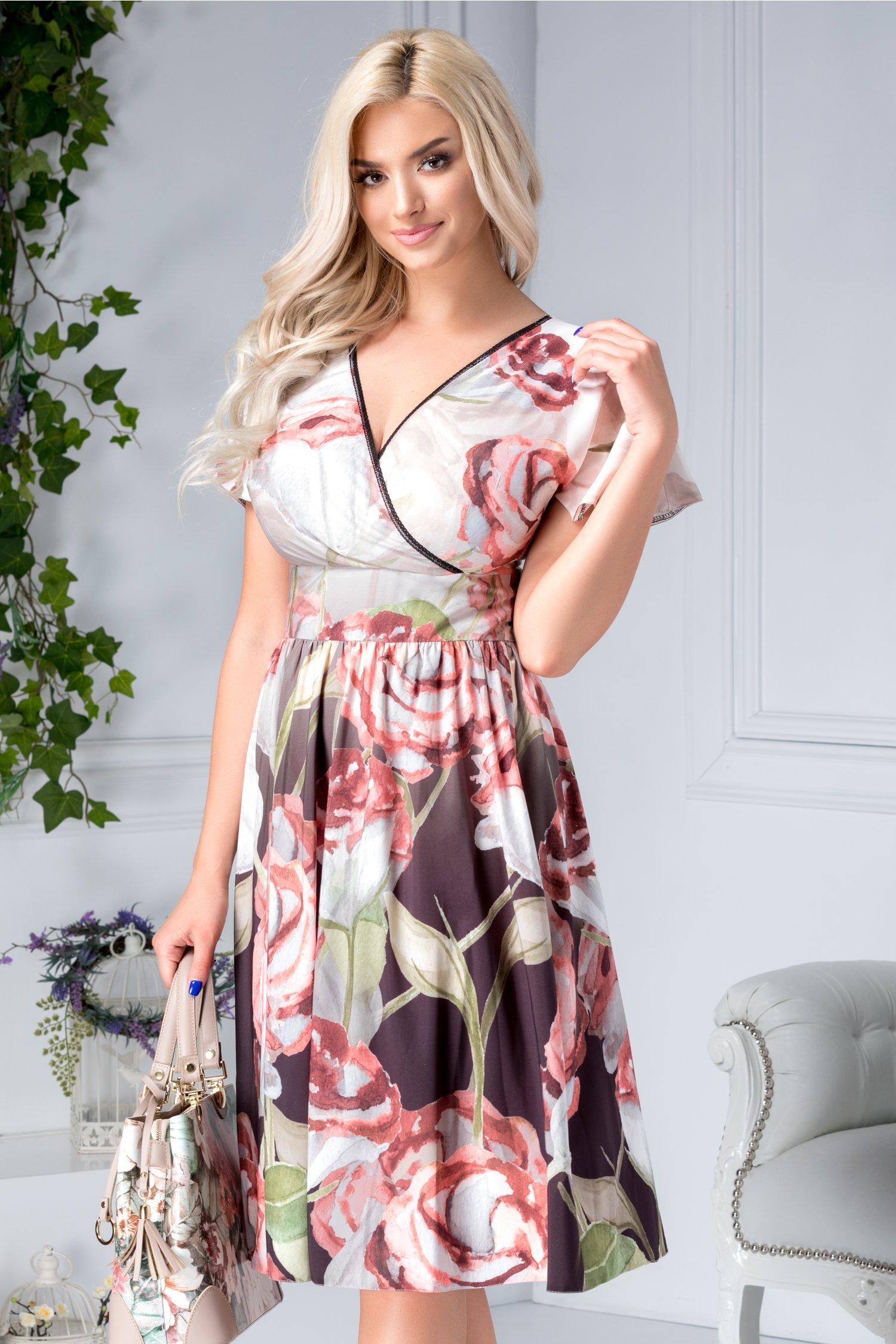 Rochie Moze petrecuta cu print floral roz