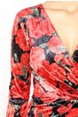 Rochie Moze petrecuta rosie cu imprimeu floral