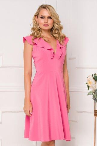 Rochie Moze roz cu volane pe umeri