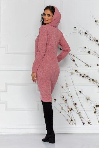 Rochie Moze roz din tricot cu gluga si buzunare