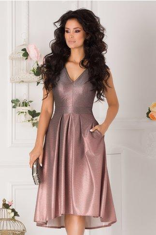 Rochie Moze roz prafuit in degrade cu glitter argintiu