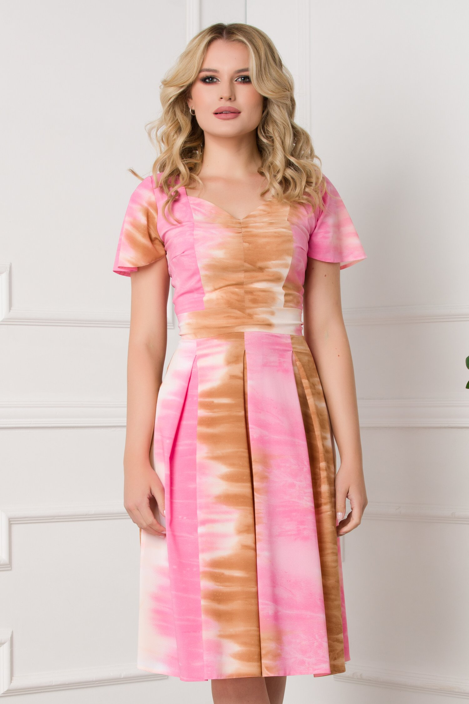 Rochie Moze roz si maro in pliuri