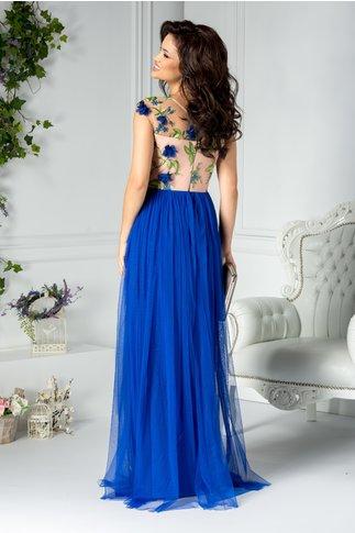 Rochie Moze Samia lunga din tull albastru cu broderie 3D