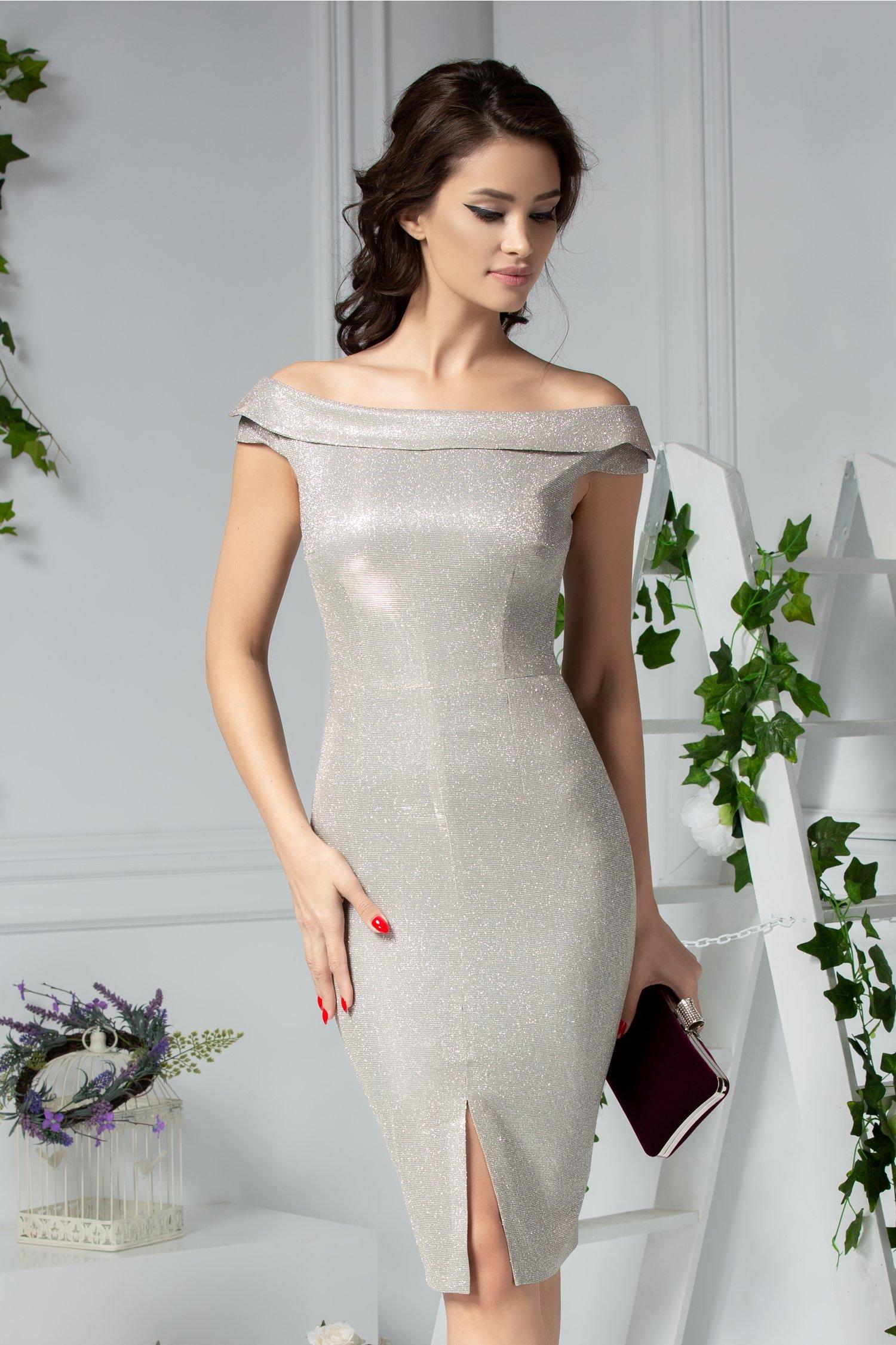 Rochie Moze Sapphire conica de ocazie argintie cu sclipici