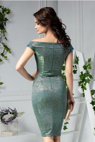 Rochie Moze Sapphire conica de ocazie verde cameleon