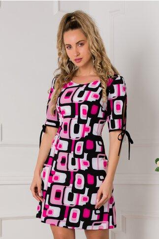 Rochie Moze scurta cu imprimeu roz