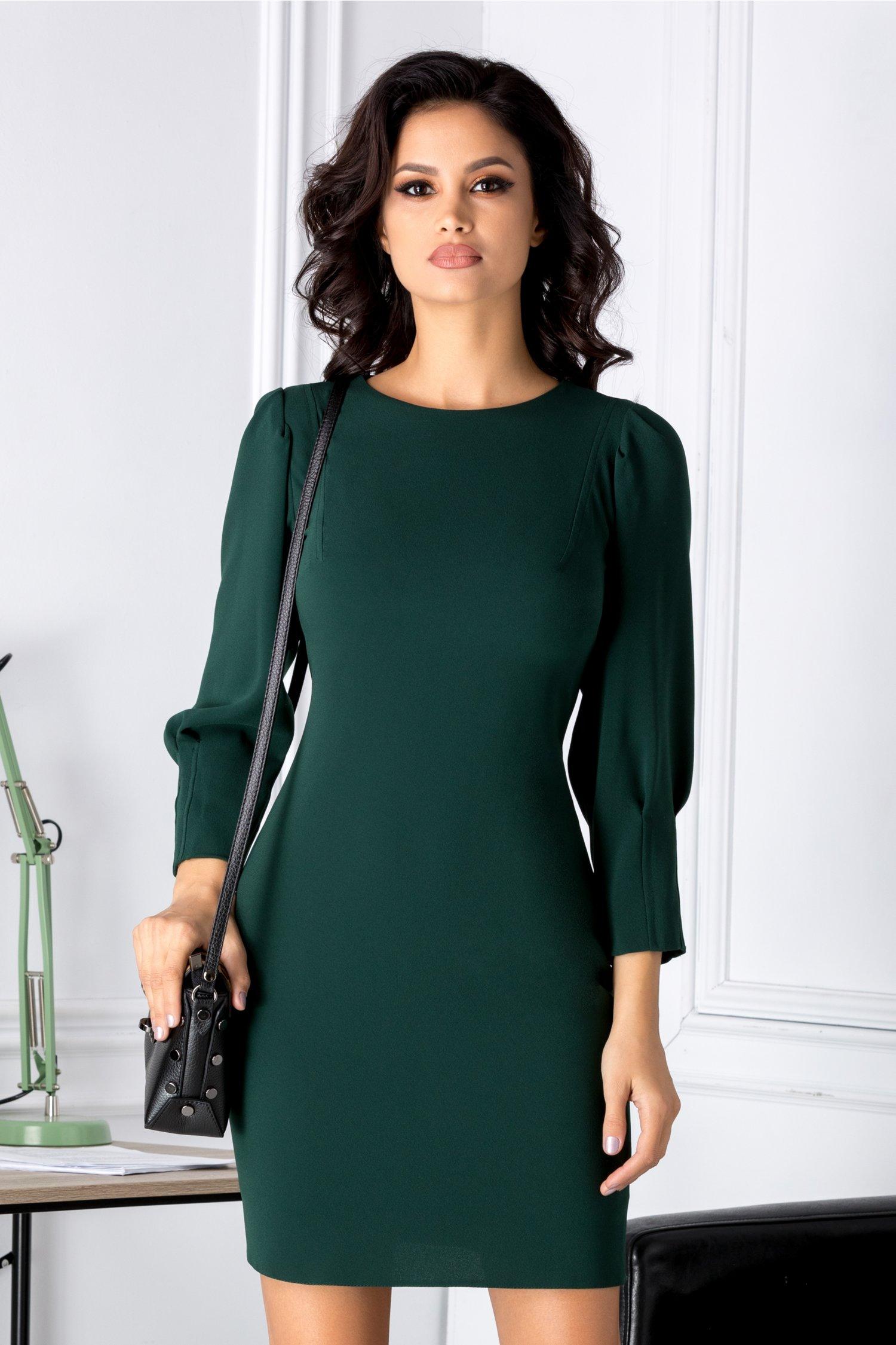 Rochie Moze smart casual verde cu nasturi la spate