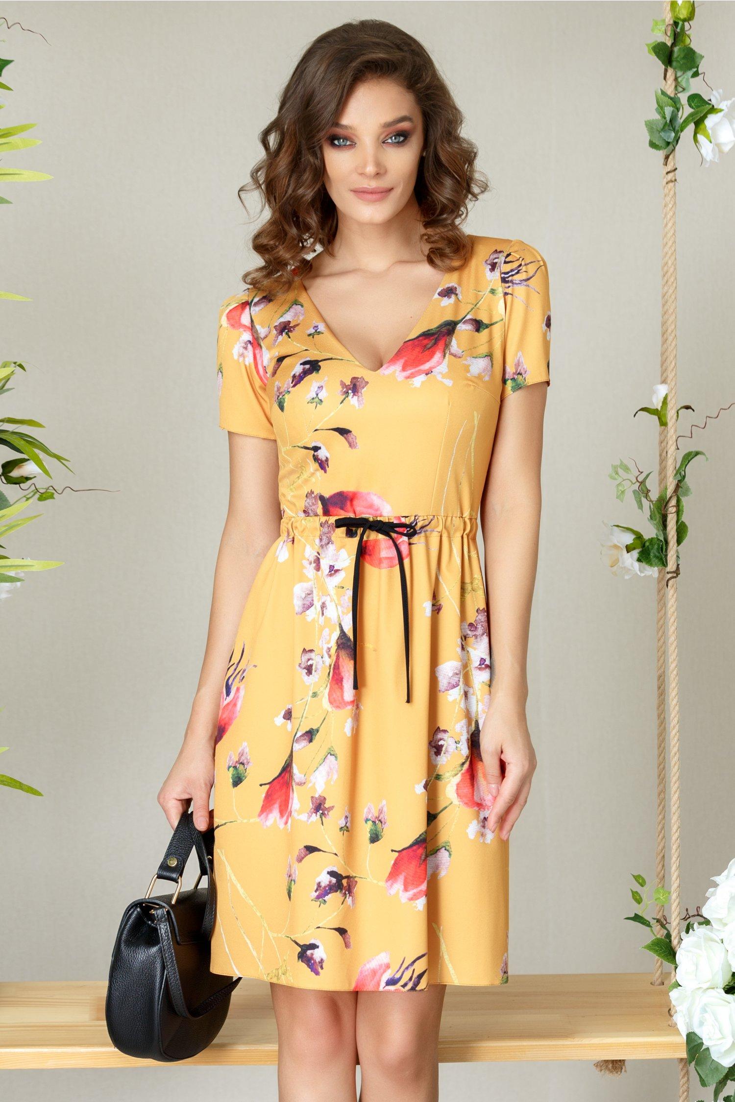 Rochie Moze Stacie galbena de zi cu print floral
