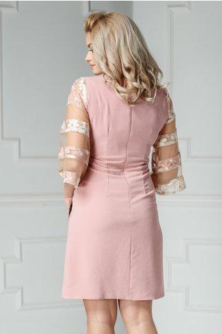 Rochie Moze Tasia roz praf de cocktail cu broderie
