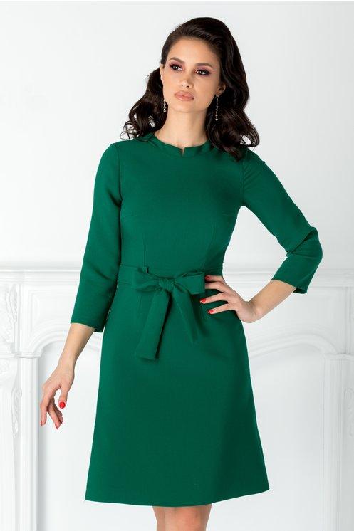Rochie Moze tip A verde cu curea in talie