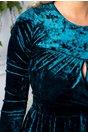 Rochie Moze turcoaz din catifea cu reflexii