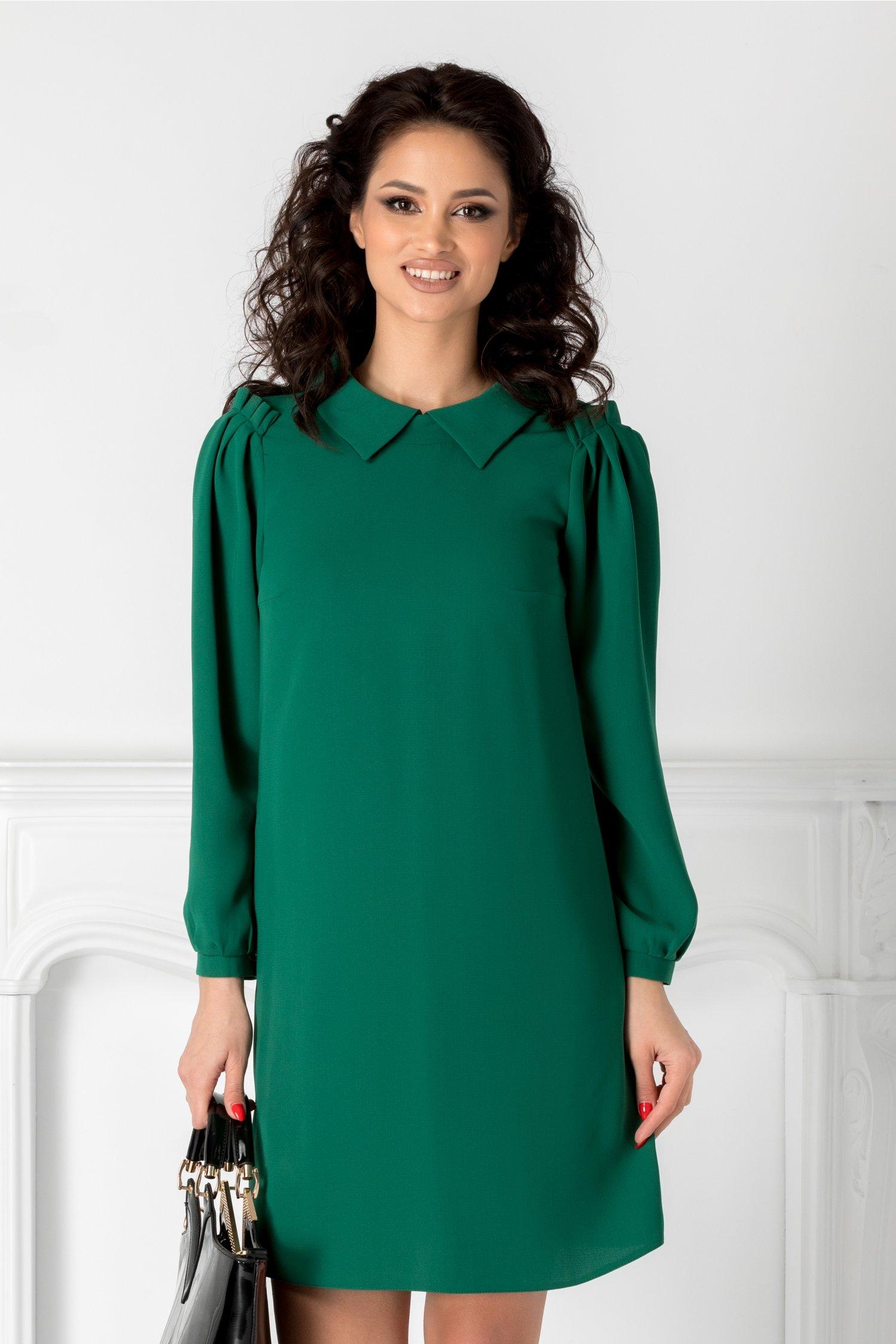 Rochie Moze verde clopot cu guler